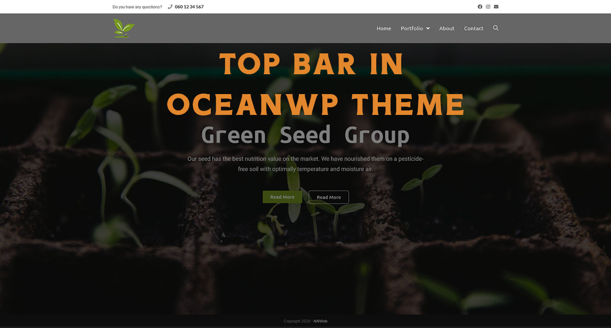 Top bar in OceanWP Theme